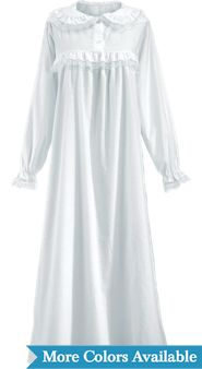 Long Cotton Flannel Granny Nightgown
