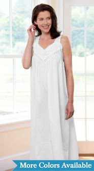 Womens Lace Pinafore Cotton Nightgown