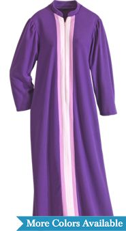Womens Zip Front Fleece Robe