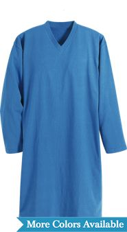 V-Neck Long-Sleeve Cotton Knit Sleepshirt