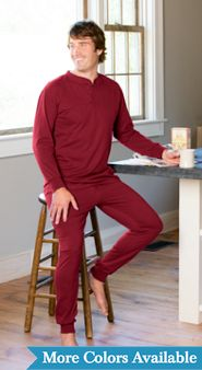 Men's Cotton Knit Ski Pajamas