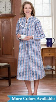 Lanz of Salzburg Tyrolean-Print Flannel Nightgown