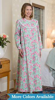 Womens Lanz of Salzburg Nantucket Rose Flannel Nightgown