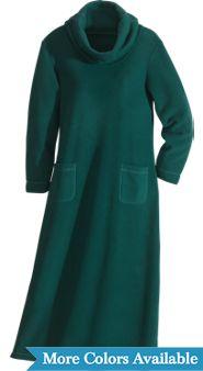 Cowl-Neck Long Fleece Nightgown