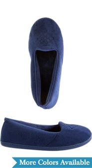 Womens Dearfoams Velour Skimmer Slipper