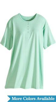 Women's Short Cotton Henley Nightshirt