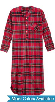 Mens 54 Inch Flannel Nightshirt
