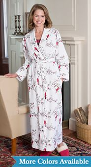 Flannel Wrap Robe For Women