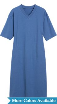 V Neck Short Sleeve Cotton Knit Sleepshirt