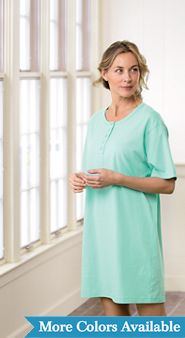 Womens Long Henley Nightshirt