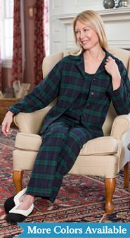 3 Piece Plaid Flannel Pajama Set