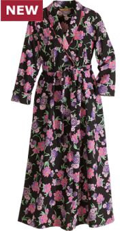 April Cornell Black Floral Robe