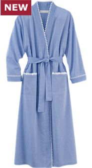 Eileen West Chambray Ballet Wrap Robe