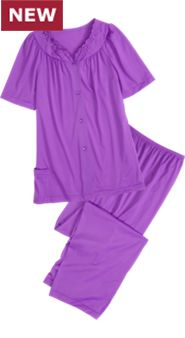 Shadowline Short-Sleeve Nylon PJs: