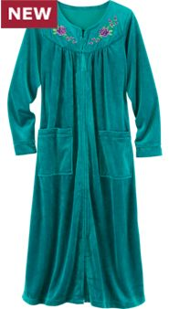 Embroidered Velour Robe: