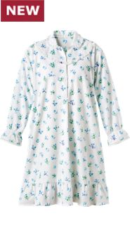 Women's Floral Portuguese Flannel Mid-Length Nightgown