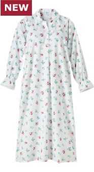 Women's Floral Portuguese Flannel Full-Length Nightgown