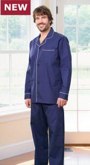 Men's 100% Cotton Broadcloth Button-Front Pajamas