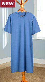 Men's Crew-Neck Short-Sleeve Cotton Knit Sleepshirt