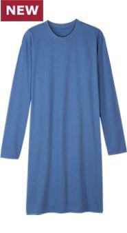 Men's Crew-Neck Long-Sleeve Cotton Knit Sleepshirt