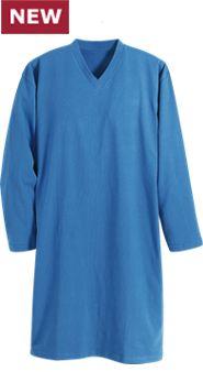 Men's V-Neck Long-Sleeve Cotton Knit Sleepshirt