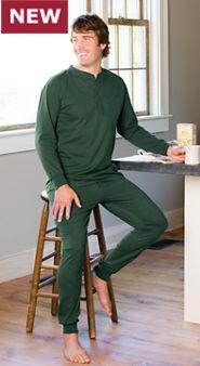 Men's Cotton Knit Ski Pajamas