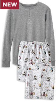 Mens Peanuts Snow Fun Henley Top Pajamas