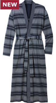 Men's Striped Cotton Pique Wrap Robe