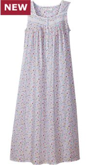 Womens Eileen West Blue Fields Cotton Nightgown
