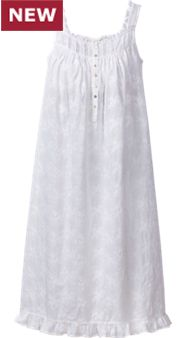 Womens Eileen West Embroidered White Nightgown