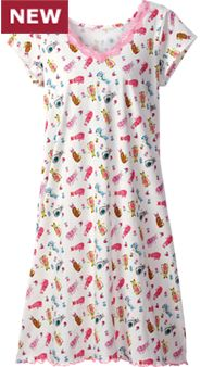 Womens Cotton Knit Cat Print Nightshirt
