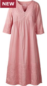 Womens Cut Work Cotton Nightgown