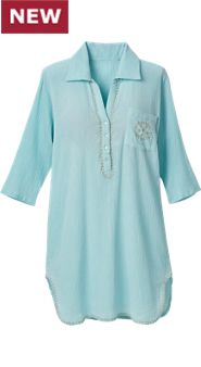 Womens Embroidered Gauze Nightshirt