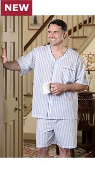 Mens Ultralight Cotton Voile Shortie Pajamas