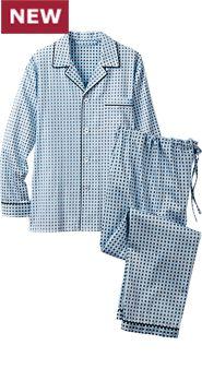 Mens Ice Blue Classic Cotton Pajamas
