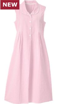 Womens Sleeveless Seersucker Nightgown