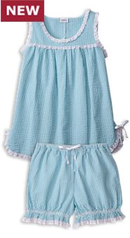 Womens Seersucker Baby Doll Pajamas