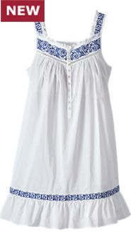 Womens Eileen West Embroidered Navy Chemise