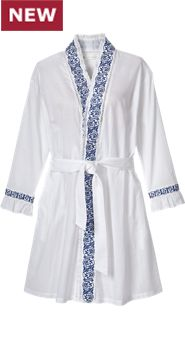 Womens Eileen West Embroidered Navy Wrap Robe
