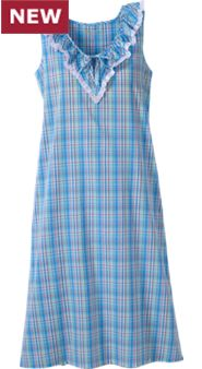 Womens Madras Plaid Nightgown