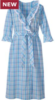 Womens Madras Plaid Robe