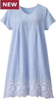 Womens Eyelet Stripe Nightgown