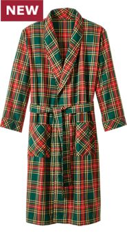 Lancaster Plaid Wool Blend Robe