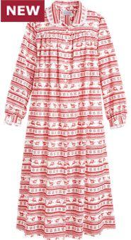 Lanz Nordic Deer Flannel Gown