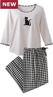 Womens Black Cat Pajamas