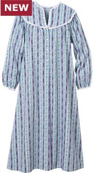Womens Lanz Purple Tyrolean Flannel Nightgown