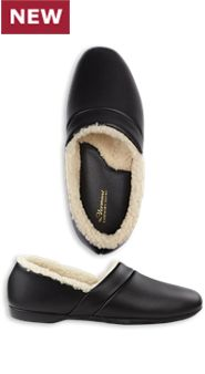 Mens Shearling Lined Leather Slippers