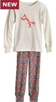 Gray Fox Pajama Set For Kids