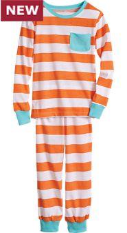 Orange Stripe Pajama Set For Kids