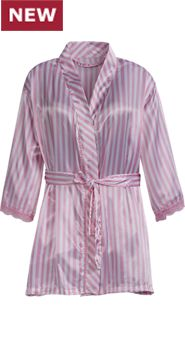 Womens Satin Kimono Robe with Lace